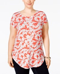Alfani Plus Size Printed T Shirt Only At Macy's Abstract Coral
