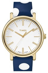 Timex 'Classic' Dot Leather Strap Watch 38Mm Navy White Poka Dot Gold
