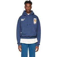Off White Blue Oversized Summer Hoodie