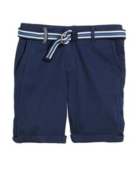 Mayoral Chino Cotton Stretch Shorts W D Ring Belt Blue