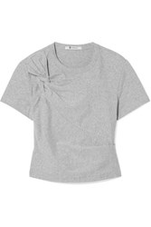 Alexander Wang T By Cropped Twist Front Stretch Cotton Jersey T Shirt Gray