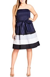 City Chic Plus Size Women's Block Stripe Sleeveless Fit And Flare Dress Navy