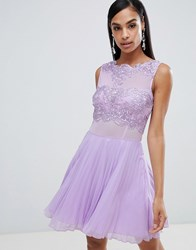 Ax Paris Tulle Skater Dress With Embellished Detail Purple