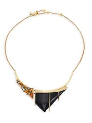 Alexis Bittar Crystal Studded Lucite Bib Necklace Gold Black