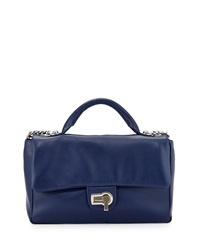 Charles Jourdan Vogue Flap Top Leather Shoulder Bag Indigo