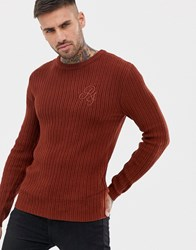 River Island Ribbed Crew Neck Jumper In Rust Red
