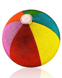 Judith Leiber Beach Ball Sphere Crystal Clutch Bag Multi