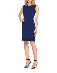 Tahari By Arthur S. Levine Sleeveless Faux Leather Trimmed Dress Indigo