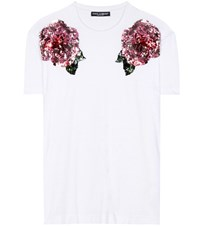Dolce And Gabbana Sequinned Cotton T Shirt White