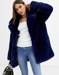 Neon Rose Faux Fur Coat With Lux Shawl Collar Navy