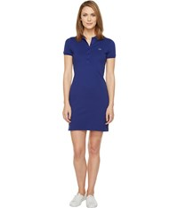Lacoste Short Sleeve Pique Polo Dress Ocean Women's Dress Blue
