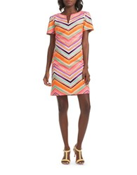 Trina Turk Aviva Stretch Cotton Zigzag Dress Pink Multi