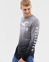 Hollister Chest And Sleeve Logo Dip Dye Long Sleeve Top In Grey Marl To Black