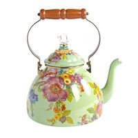 Mackenzie Childs Flower Market Enamel Tea Kettle Green Large
