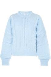 Miu Miu Oversized Cable Knit Mohair Blend Sweater Blue