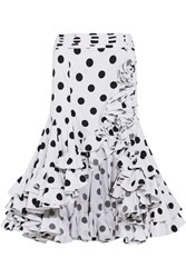 Caroline Constas Giovanna Asymmetric Ruffled Polka Dot Cotton Skirt White