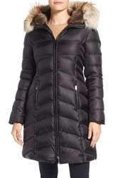 Dawn Levy Women's Daphne Long Quilted Down Coat With Genuine Fur Trim Black