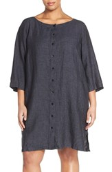 Plus Size Women's Eileen Fisher Organic Linen Bateau Neck Shift Dress Denim