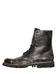 Diesel Vintage Effect Lace Up Leather Boots Black
