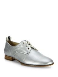 Rag And Bone Audrey Metallic Leather Oxfords Silver