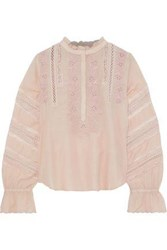 Love Sam Lace Trimmed Broderie Anglaise Cotton Blend Poplin Blouse Blush