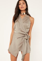 Missguided Brown Sleeveless Knot Front Wrap Silky Shirt Playsuit