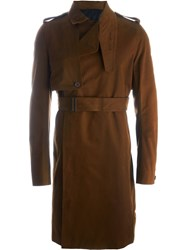 Rick Owens Belted Trench Coat Brown