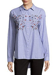 Beach Lunch Lounge Classy Long Sleeve Cotton Top Blue Chamber