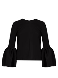 Roksanda Ilincic Truffault Bell Sleeved Stretch Cady Top Black