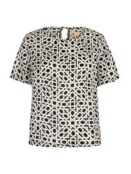 Yumi Geo Print Top Black White