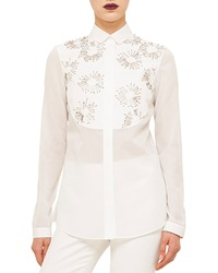 Akris Punto Long Sleeve Embellished Shirt Cream