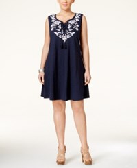 Styleandco. Style Co. Plus Size Embroidered Peasant Dress Only At Macy's Industrial Blue