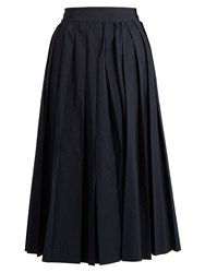 Muveil Pleated Poplin Culottes Navy