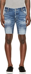 Dsquared Blue Faded And Distressed Pink Painter Shorts