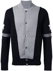 Givenchy Stars And Stripe Knitted Cardigan Grey