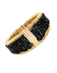Kenneth Cole Woven Faceted Bead Hinged Bangle Bracelet Black