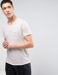 Selected Homme T Shirt With Raw Hem And Scoop Neck Shark Purple