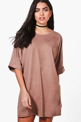Boohoo Suedette Oversized T Shirt Dress Sand