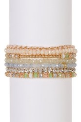 Joe Fresh Multi Row Beaded String Bracelet Beige