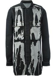 Rick Owens Drkshdw Bleach Stain Denim Jacket Black