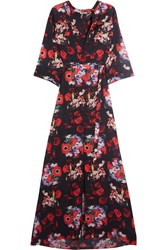 Kenzo Floral Print Silk Georgette Maxi Dress Red