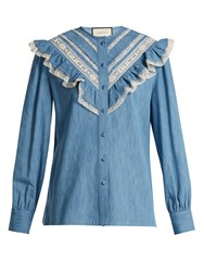 Gucci Lace Trimmed Ruffle Cotton Chambray Blouse Light Blue