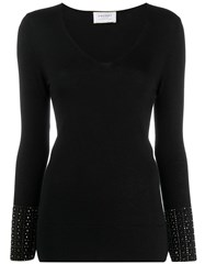 Snobby Sheep Studded Sleeve Sweater Black