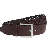 Reiss Tower Woven Leather Belt Ox Blood