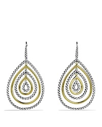 David Yurman Cable Classics Teardrop Earrings With Gold Silver Yellow Gold