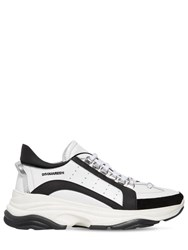 Dsquared 551 Bumpy Leather And Suede Sneakers White Black
