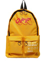 Off White Printed Industrial Tech Canvas Backpack Yellow