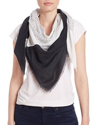 Dkny Striped Fringe Scarf Chalk