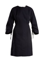 Stella Mccartney Indigo Round Neck Ruched Sleeve Cocoon Dress