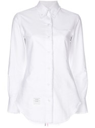 Thom Browne Center Back Stripe Frayed Oxford Shirt White